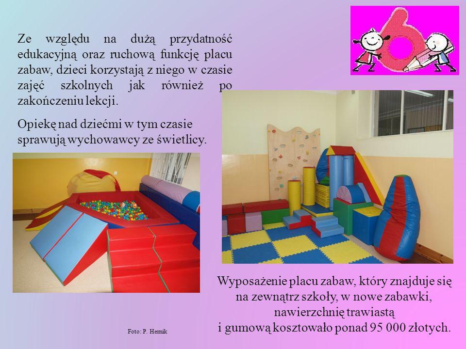 Sala zabaw jest wyposażona w przyrządy pozwalające na zaspokojenie przez dziecko potrzeby ruchu i obejmuje w szczególności duże, miękkie klocki, miękkie piłki w różnych kolorach i wielkościach, basen z piłkami, materace do zabaw, tory przeszkód, zestawy umożliwiające pokonywanie wysokości, np.: ścianka wspinaczkowa, a zarazem usprawniające koordynację wzrokowo - ruchową.