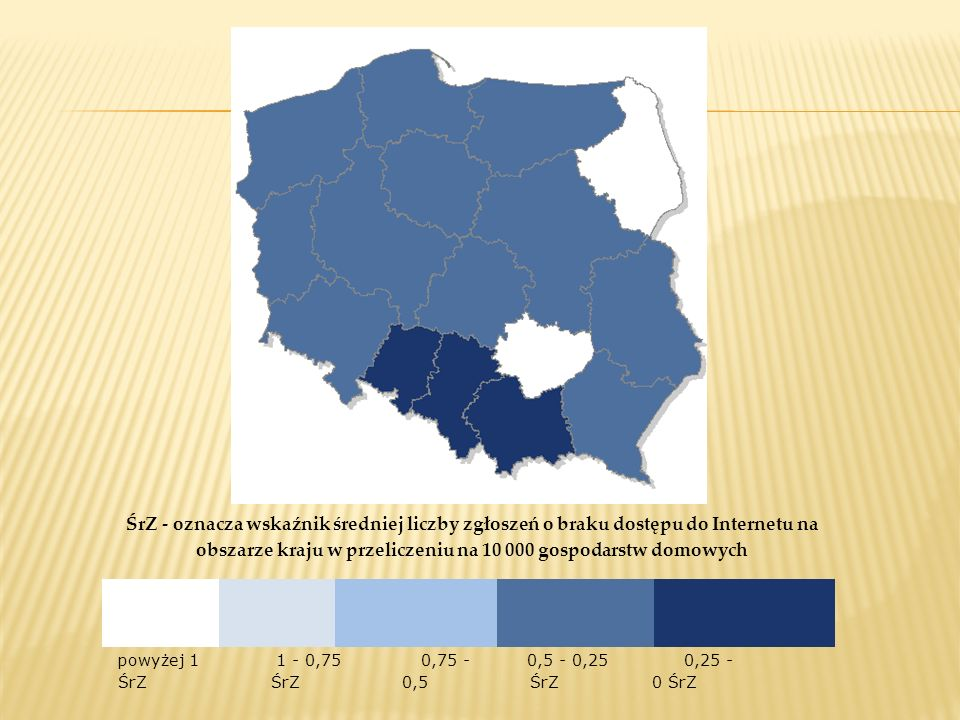 ŚrZ - oznacza wskaźnik średniej liczby zgłoszeń o braku dostępu do Internetu na obszarze kraju w przeliczeniu na 10 000 gospodarstw domowych powyżej 1