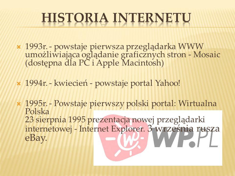 1993r. - powstaje pierwsza przeglądarka WWW umożliwiająca oglądanie graficznych stron - Mosaic (dostępna dla PC i Apple Macintosh) 1994r. - kwiecień -