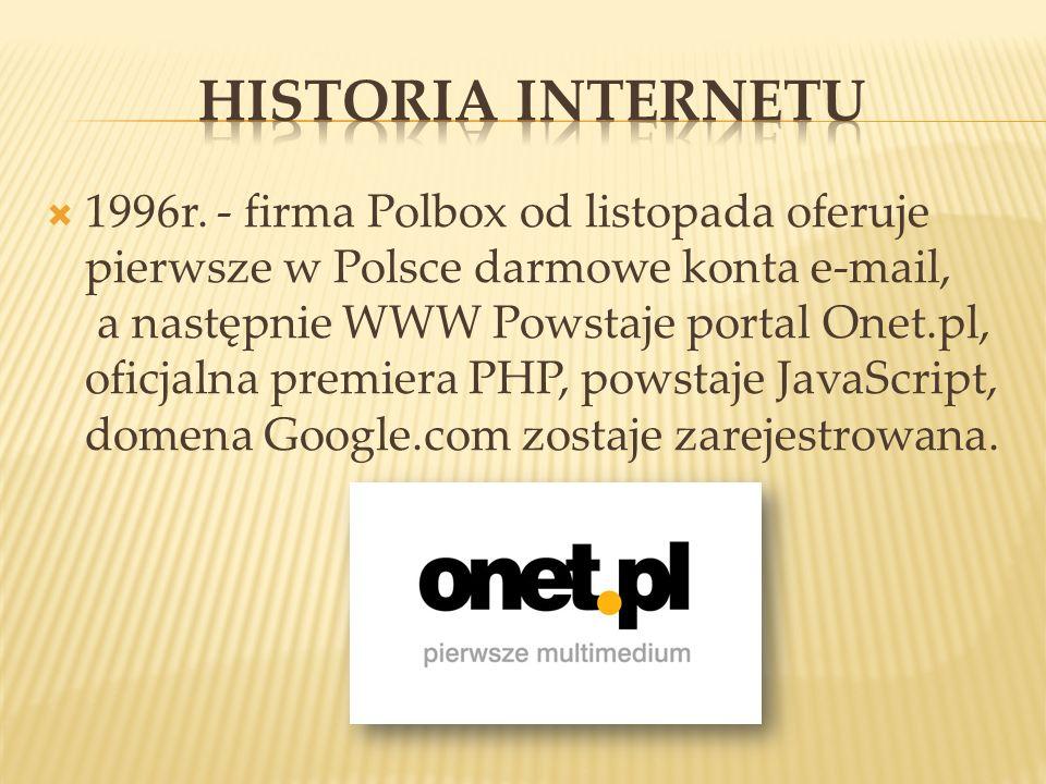 1996r. - firma Polbox od listopada oferuje pierwsze w Polsce darmowe konta e-mail, a następnie WWW Powstaje portal Onet.pl, oficjalna premiera PHP, po