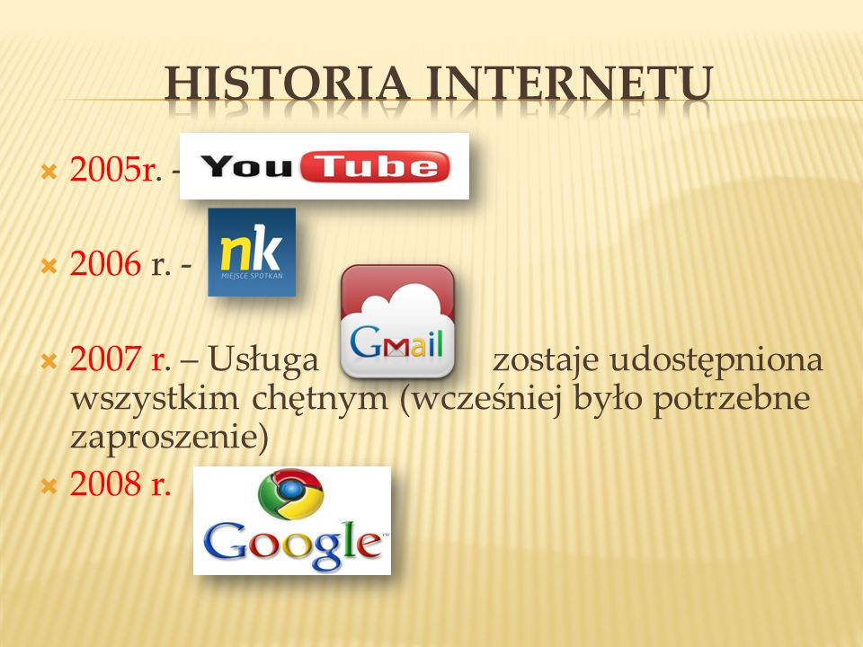 2005r. - 2006 r. - 2007 r. – Usługa zostaje udostępniona wszystkim chętnym (wcześniej było potrzebne zaproszenie) 2008 r.