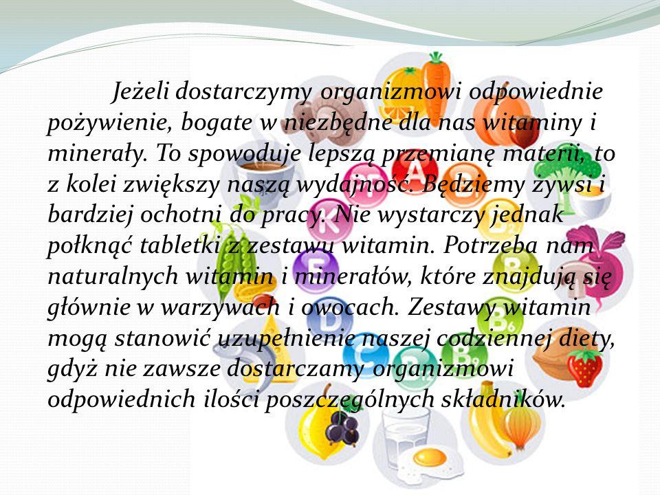 Jeżeli dostarczymy organizmowi odpowiednie pożywienie, bogate w niezbędne dla nas witaminy i minerały. To spowoduje lepszą przemianę materii, to z kol