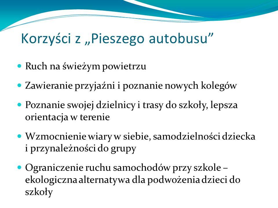 Korzyści z Pieszego autobusu Ruch na świeżym powietrzu Zawieranie przyjaźni i poznanie nowych kolegów Poznanie swojej dzielnicy i trasy do szkoły, lep