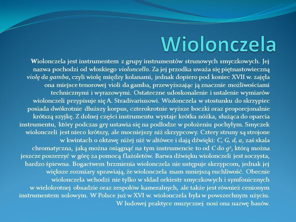 Wiolonczela jest instrumentem z grupy instrumentów strunowych smyczkowych.