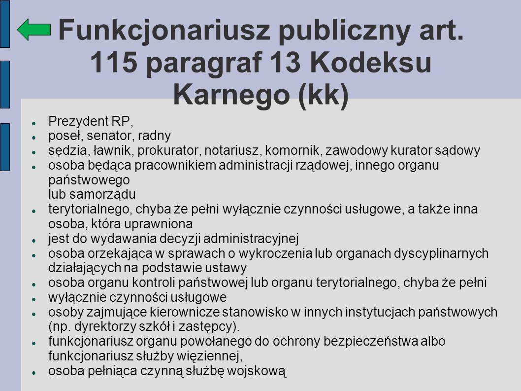 Funkcjonariusz publiczny art.