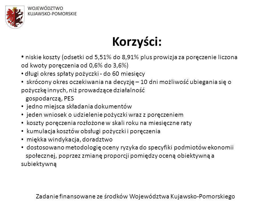 Zadanie finansowane ze środków Województwa Kujawsko-Pomorskiego Korzyści: niskie koszty (odsetki od 5,51% do 8,91% plus prowizja za poręczenie liczona