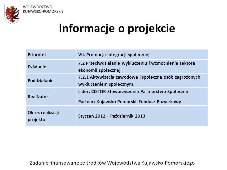 Zadanie finansowane ze środków Województwa Kujawsko-Pomorskiego Informacje o projekcie PriorytetVII. Promocja integracji społecznej Działanie 7.2 Prze
