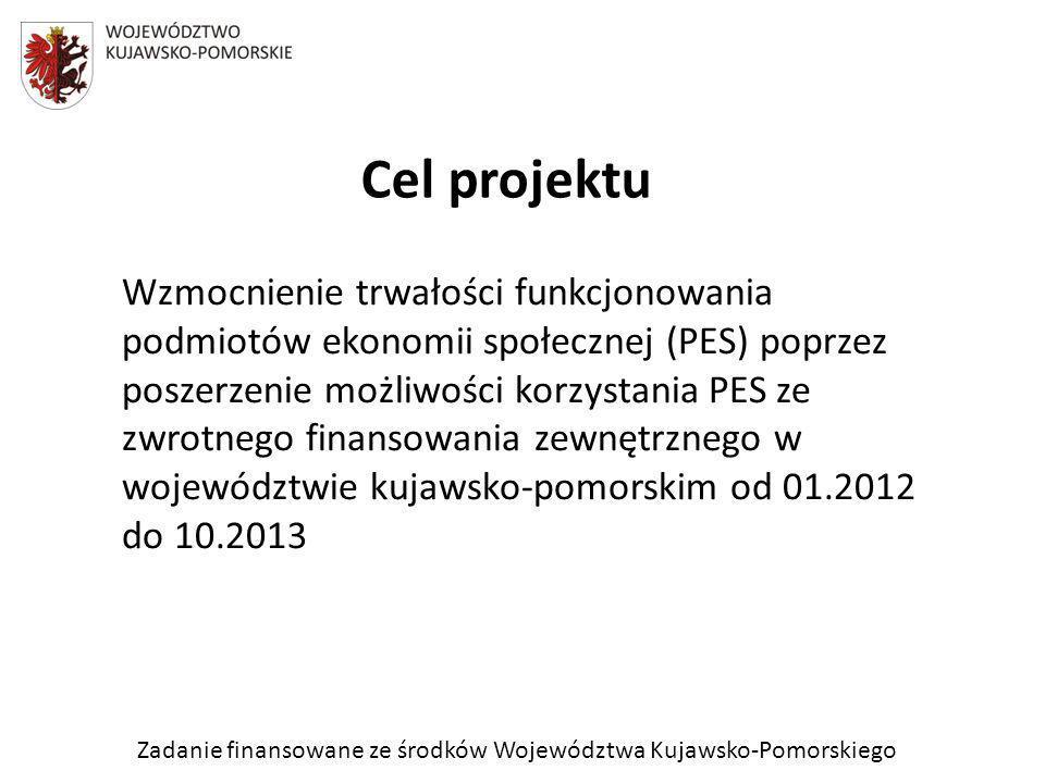 Zadanie finansowane ze środków Województwa Kujawsko-Pomorskiego Cel projektu Wzmocnienie trwałości funkcjonowania podmiotów ekonomii społecznej (PES) poprzez poszerzenie możliwości korzystania PES ze zwrotnego finansowania zewnętrznego w województwie kujawsko-pomorskim od 01.2012 do 10.2013