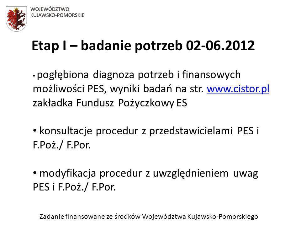 Zadanie finansowane ze środków Województwa Kujawsko-Pomorskiego Etap I – badanie potrzeb 02-06.2012 pogłębiona diagnoza potrzeb i finansowych możliwoś
