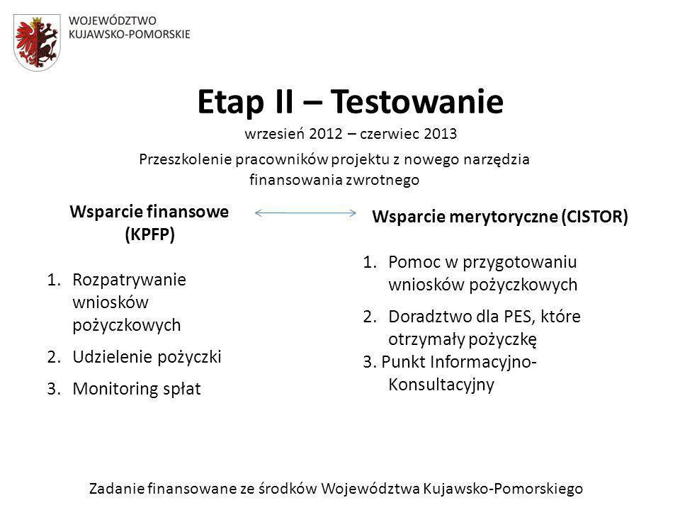 Zadanie finansowane ze środków Województwa Kujawsko-Pomorskiego Etap II – Testowanie wrzesień 2012 – czerwiec 2013 Przeszkolenie pracowników projektu z nowego narzędzia finansowania zwrotnego Wsparcie finansowe (KPFP) 1.Rozpatrywanie wniosków pożyczkowych 2.Udzielenie pożyczki 3.Monitoring spłat Wsparcie merytoryczne (CISTOR) 1.Pomoc w przygotowaniu wniosków pożyczkowych 2.Doradztwo dla PES, które otrzymały pożyczkę 3.