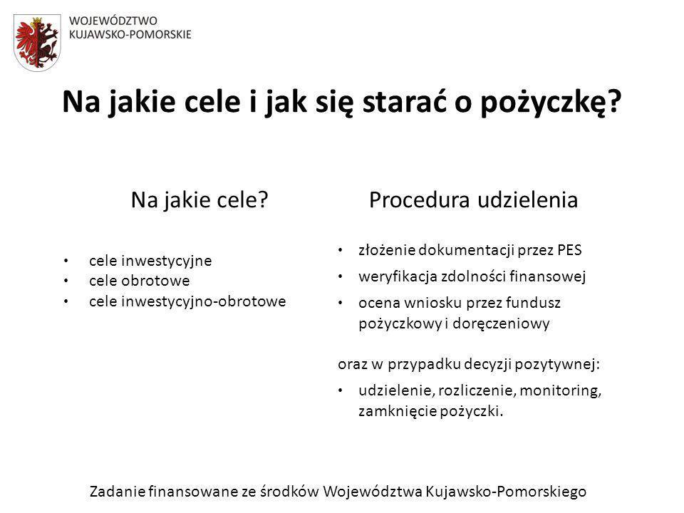 Zadanie finansowane ze środków Województwa Kujawsko-Pomorskiego Korzyści: niskie koszty (odsetki od 5,51% do 8,91% plus prowizja za poręczenie liczona od kwoty poręczenia od 0,6% do 3,6%) długi okres spłaty pożyczki - do 60 miesięcy skrócony okres oczekiwania na decyzję – 10 dni możliwość ubiegania się o pożyczkę innych, niż prowadzące działalność gospodarczą, PES jedno miejsca składania dokumentów jeden wniosek o udzielenie pożyczki wraz z poręczeniem koszty poręczenia rozłożone w skali roku na miesięczne raty kumulacja kosztów obsługi pożyczki i poręczenia miękka windykacja, doradztwo dostosowano metodologię oceny ryzyka do specyfiki podmiotów ekonomii społecznej, poprzez zmianę proporcji pomiędzy oceną obiektywną a subiektywną
