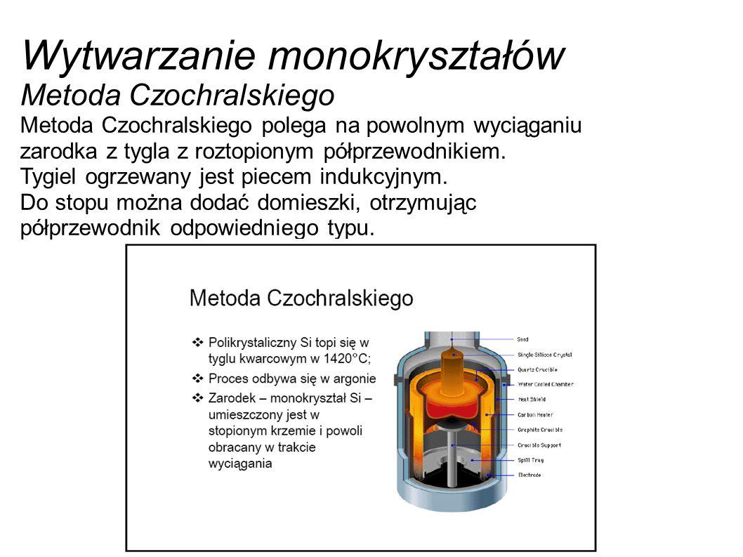 Wytwarzanie monokryształów Metoda Czochralskiego Metoda Czochralskiego polega na powolnym wyciąganiu zarodka z tygla z roztopionym półprzewodnikiem. T
