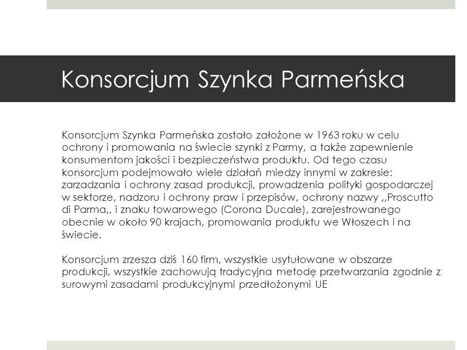 Konsorcjum Szynka Parmeńska Konsorcjum Szynka Parmeńska zostało założone w 1963 roku w celu ochrony i promowania na świecie szynki z Parmy, a także zapewnienie konsumentom jakości i bezpieczeństwa produktu.