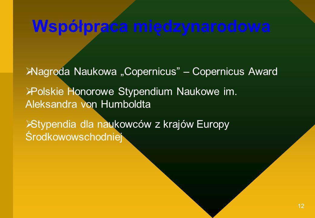 12 Nagroda Naukowa Copernicus – Copernicus Award Polskie Honorowe Stypendium Naukowe im. Aleksandra von Humboldta Stypendia dla naukowców z krajów Eur