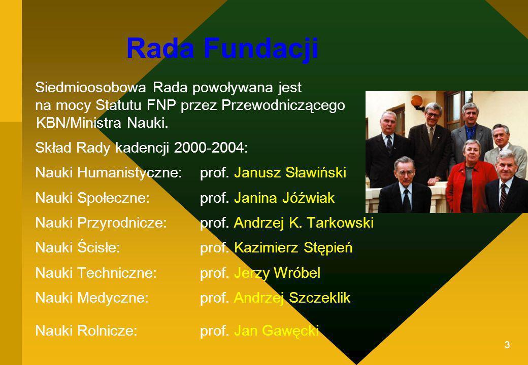 3 Rada Fundacji Siedmioosobowa Rada powoływana jest na mocy Statutu FNP przez Przewodniczącego KBN/Ministra Nauki. Skład Rady kadencji 2000-2004: Nauk