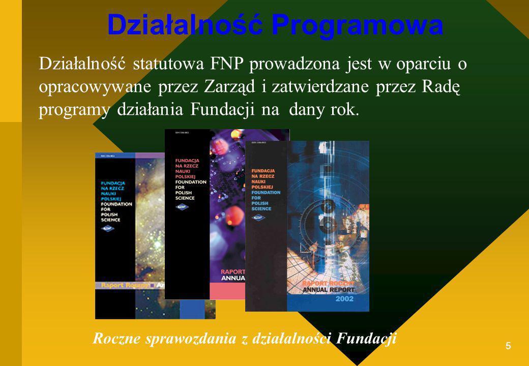 5 Działalność Programowa Działalność statutowa FNP prowadzona jest w oparciu o opracowywane przez Zarząd i zatwierdzane przez Radę programy działania