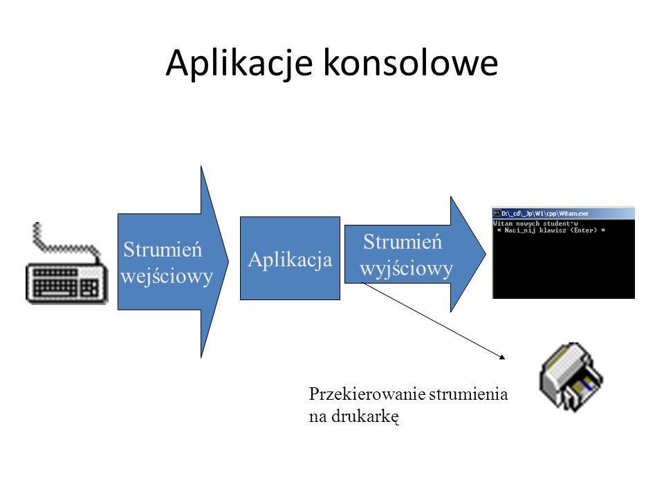 Aplikacje konsolowe Aplikacja Strumień wejściowy Strumień wyjściowy Przekierowanie strumienia na drukarkę