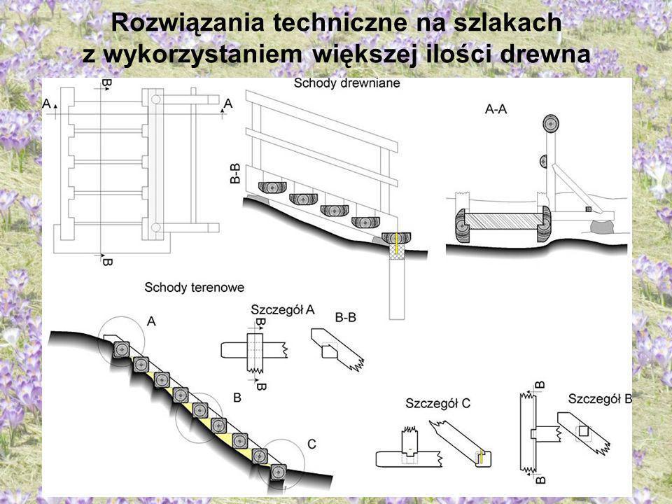 Rozwiązania techniczne na szlakach z wykorzystaniem większej ilości drewna Opracował: Józef Chowaniec