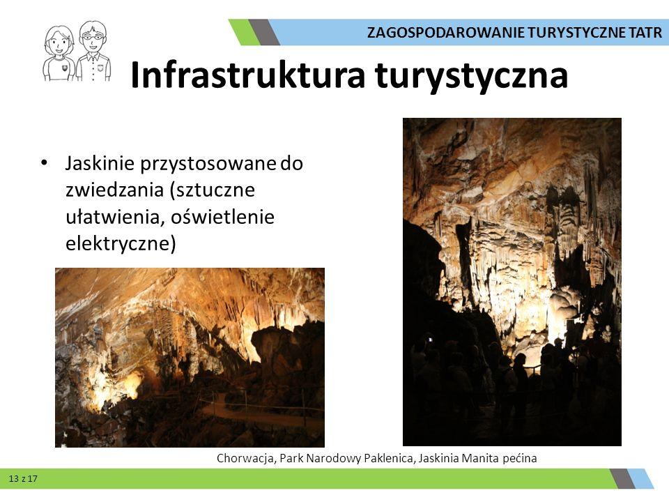 Jaskinie przystosowane do zwiedzania (sztuczne ułatwienia, oświetlenie elektryczne) ZAGOSPODAROWANIE TURYSTYCZNE TATR Infrastruktura turystyczna Chorw
