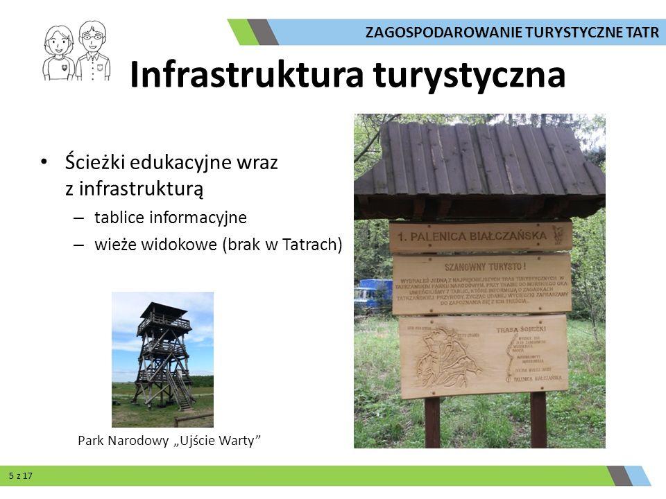 Ścieżki edukacyjne wraz z infrastrukturą – tablice informacyjne – wieże widokowe (brak w Tatrach) Park Narodowy Ujście Warty ZAGOSPODAROWANIE TURYSTYC
