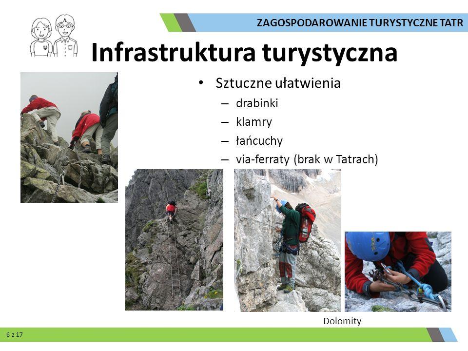 Sztuczne ułatwienia – drabinki – klamry – łańcuchy – via-ferraty (brak w Tatrach) Dolomity ZAGOSPODAROWANIE TURYSTYCZNE TATR Infrastruktura turystyczn