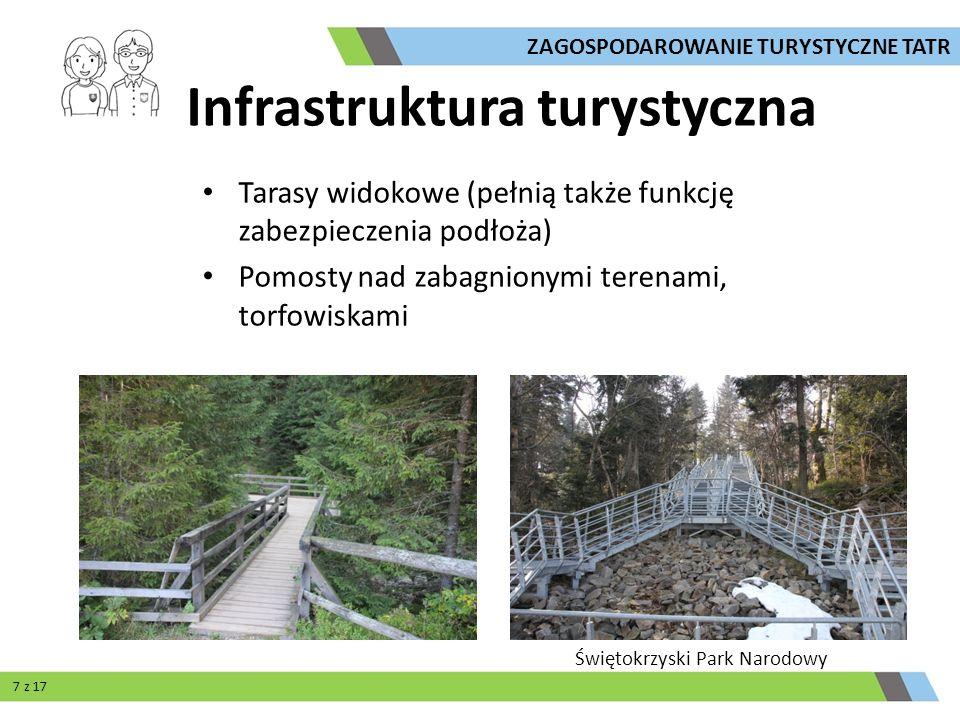 Tarasy widokowe (pełnią także funkcję zabezpieczenia podłoża) Pomosty nad zabagnionymi terenami, torfowiskami Świętokrzyski Park Narodowy ZAGOSPODAROW