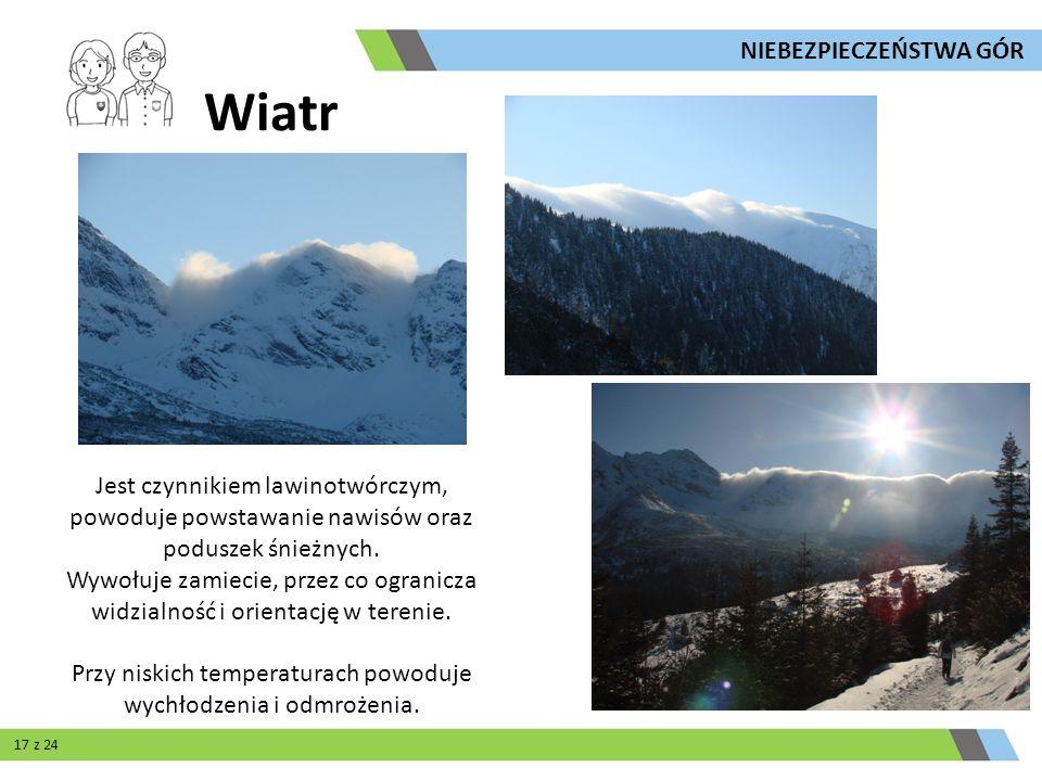 Wiatr Jest czynnikiem lawinotwórczym, powoduje powstawanie nawisów oraz poduszek śnieżnych. Wywołuje zamiecie, przez co ogranicza widzialność i orient