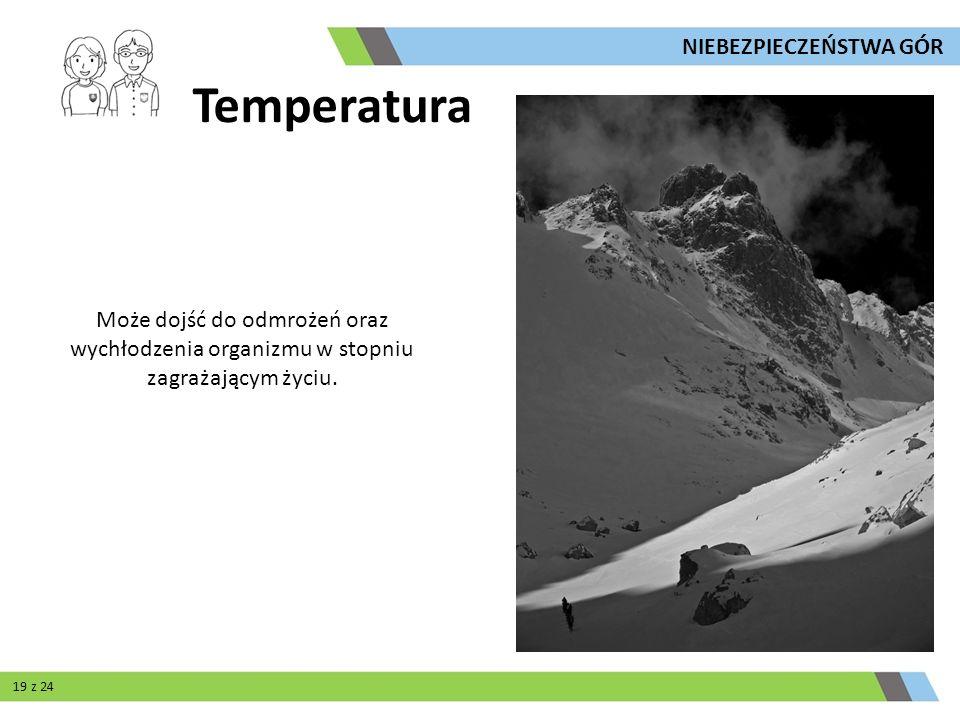 Temperatura Może dojść do odmrożeń oraz wychłodzenia organizmu w stopniu zagrażającym życiu. NIEBEZPIECZEŃSTWA GÓR 19 z 24