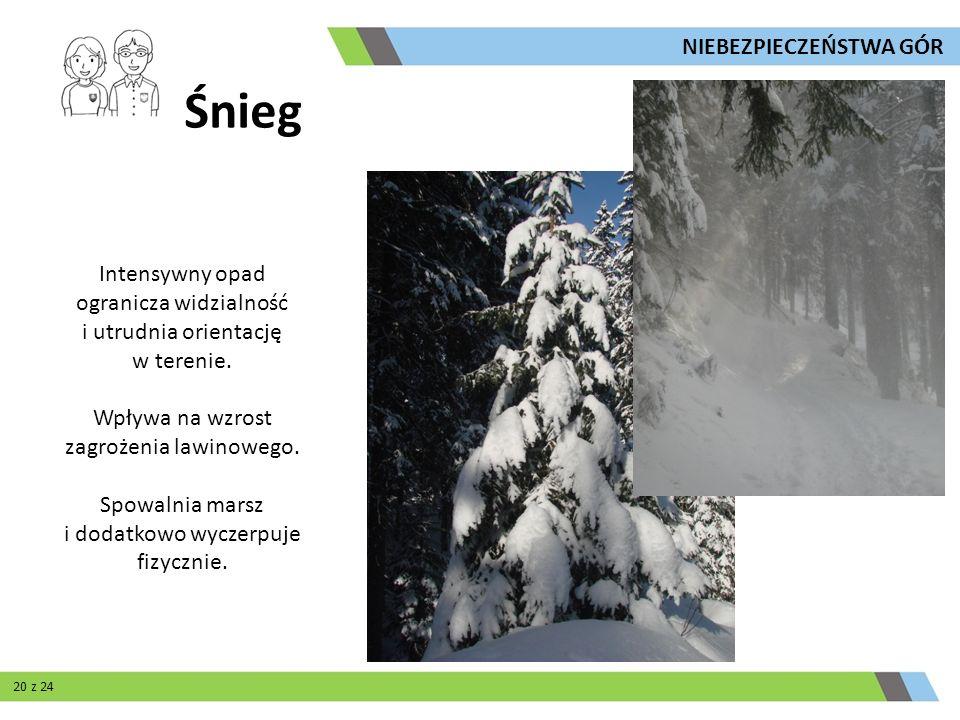 Śnieg Intensywny opad ogranicza widzialność i utrudnia orientację w terenie. Wpływa na wzrost zagrożenia lawinowego. Spowalnia marsz i dodatkowo wycze