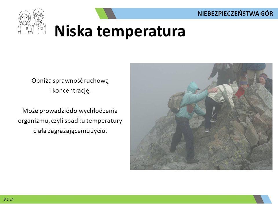 Niska temperatura Obniża sprawność ruchową i koncentrację. Może prowadzić do wychłodzenia organizmu, czyli spadku temperatury ciała zagrażającemu życi