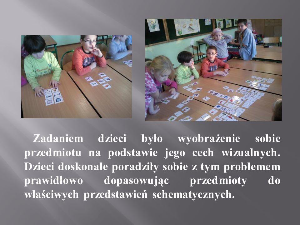 Dzieci nazywały przedmioty na podstawie ich reprezentacji schematycznej, podawały bardzo dużo prawidłowych odpowiedzi i świetnie się przy tym bawiły.