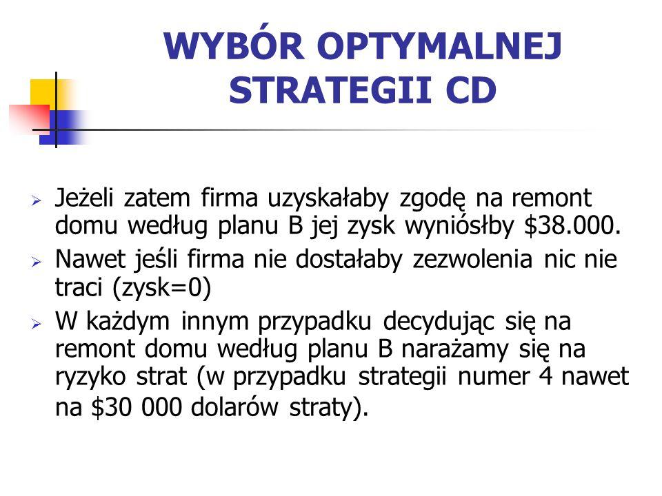 Jak wynika z przedstawionej powyżej tabeli optymalną strategia dla przedsiębiorstwa jest wybór strategii numer 3.