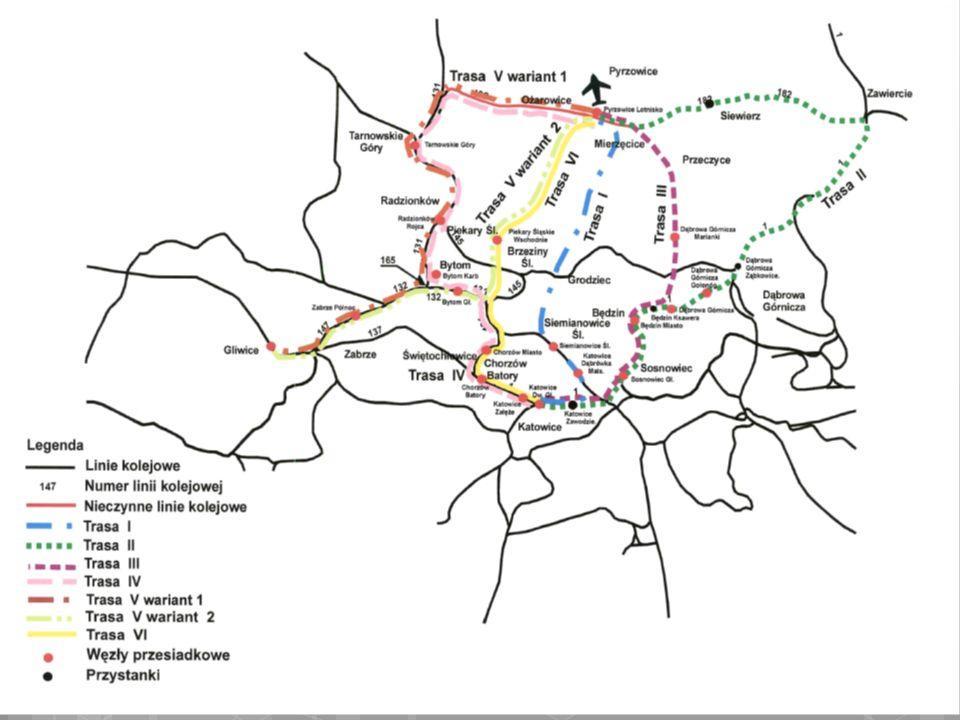 Porównanie wariantów wariant IV- trasa zachodnia w relacji Katowice – Bytom- Tarnowskie Góry- MPL Katowice w Pyrzowicach z wykorzystaniem istniejących połączeń linii kolejowych (linie nr 131 i nr 182) wariant VI, czyli trasę z Katowic przez Chorzów, Bytom, Piekary Śl.
