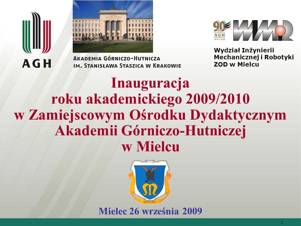 1 Inauguracja roku akademickiego 2009/2010 w Zamiejscowym Ośrodku Dydaktycznym Akademii Górniczo-Hutniczej w Mielcu Mielec 26 września 2009 Wydział In