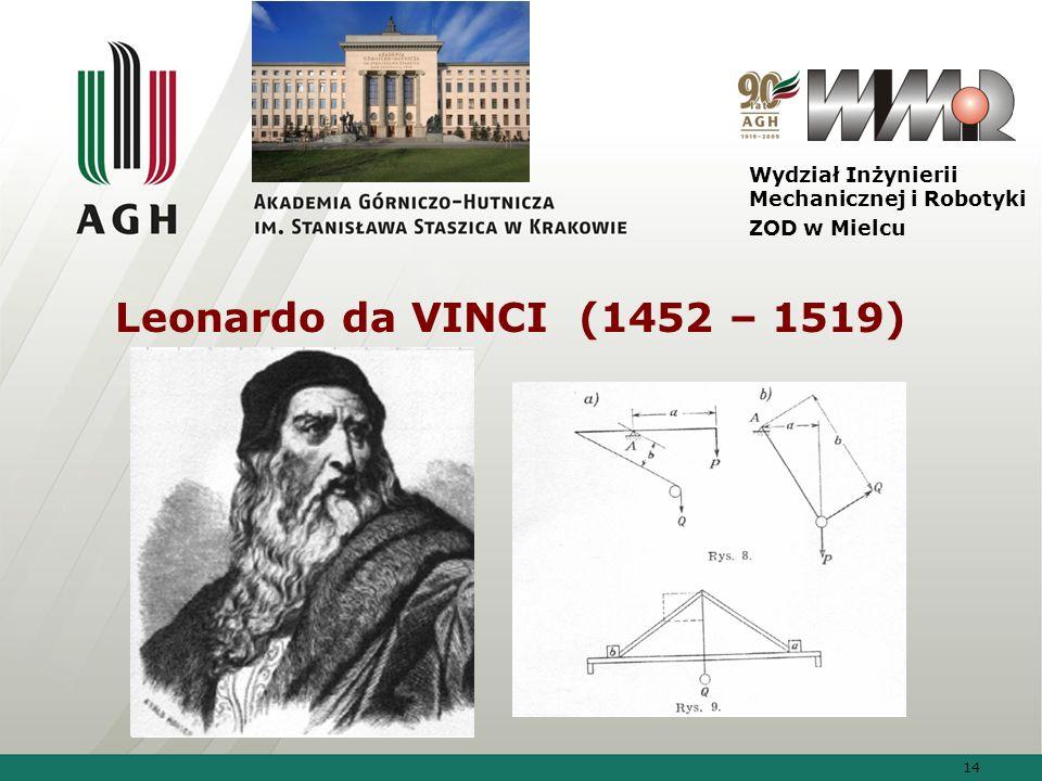 14 Wydział Inżynierii Mechanicznej i Robotyki ZOD w Mielcu Leonardo da VINCI (1452 – 1519)
