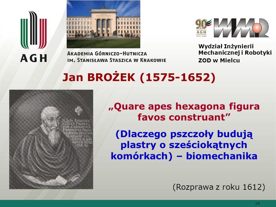 19 Wydział Inżynierii Mechanicznej i Robotyki ZOD w Mielcu Jan BROŻEK (1575-1652) Quare apes hexagona figura favos construant (Dlaczego pszczoły buduj