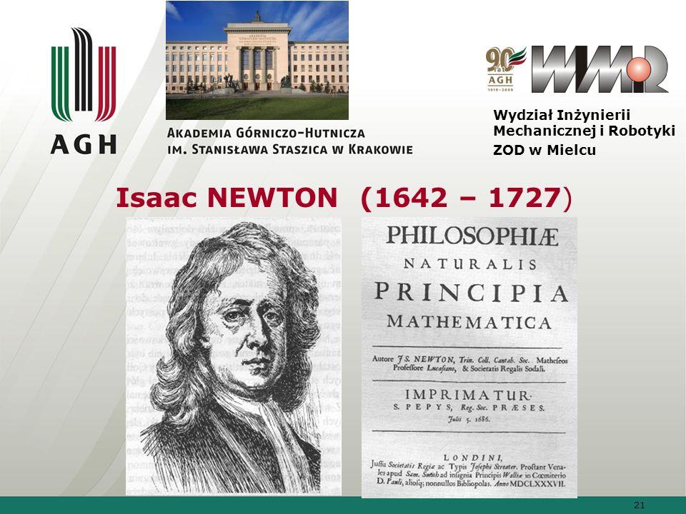 21 Wydział Inżynierii Mechanicznej i Robotyki ZOD w Mielcu Isaac NEWTON (1642 – 1727)
