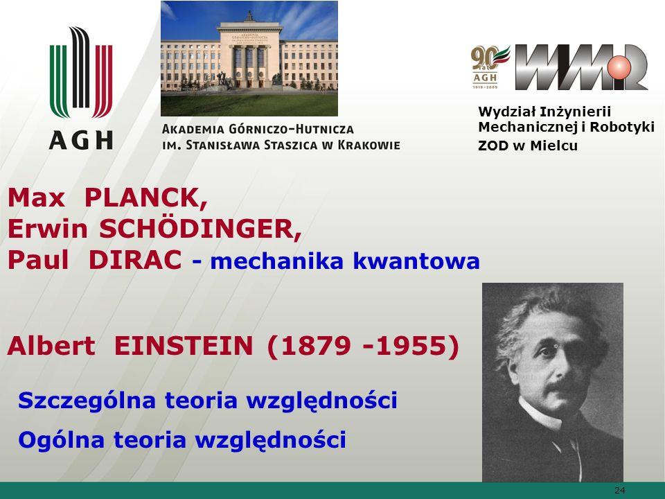 24 Wydział Inżynierii Mechanicznej i Robotyki ZOD w Mielcu Max PLANCK, Erwin SCHÖDINGER, Paul DIRAC - mechanika kwantowa Albert EINSTEIN (1879 -1955)