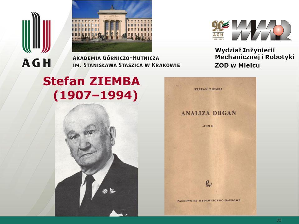 30 Wydział Inżynierii Mechanicznej i Robotyki ZOD w Mielcu Stefan ZIEMBA (1907–1994)