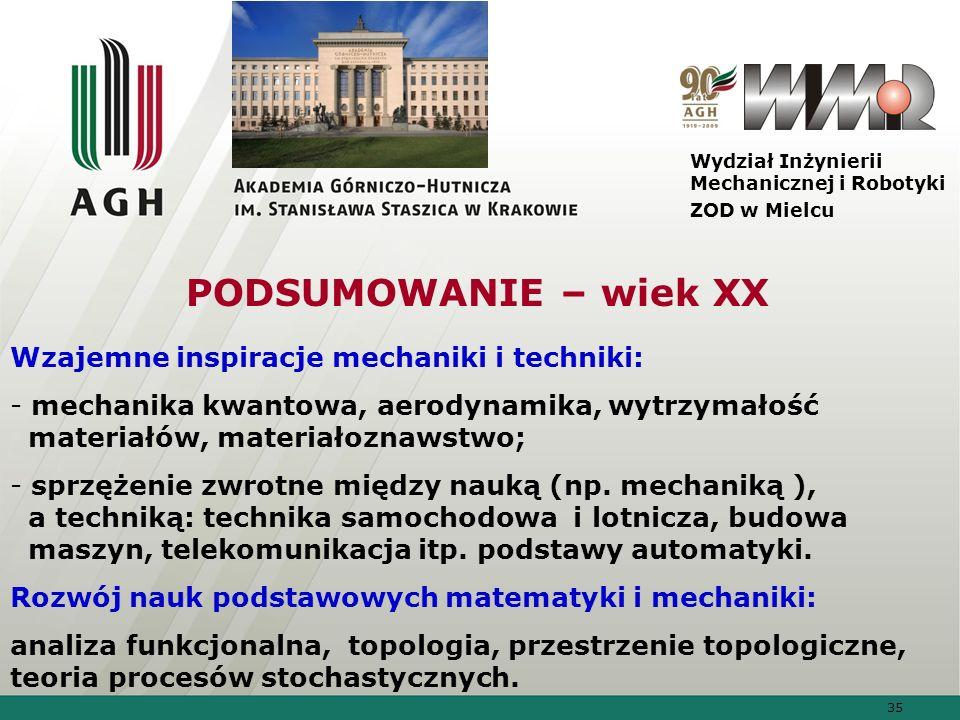 35 Wydział Inżynierii Mechanicznej i Robotyki ZOD w Mielcu Wzajemne inspiracje mechaniki i techniki: - mechanika kwantowa, aerodynamika, wytrzymałość