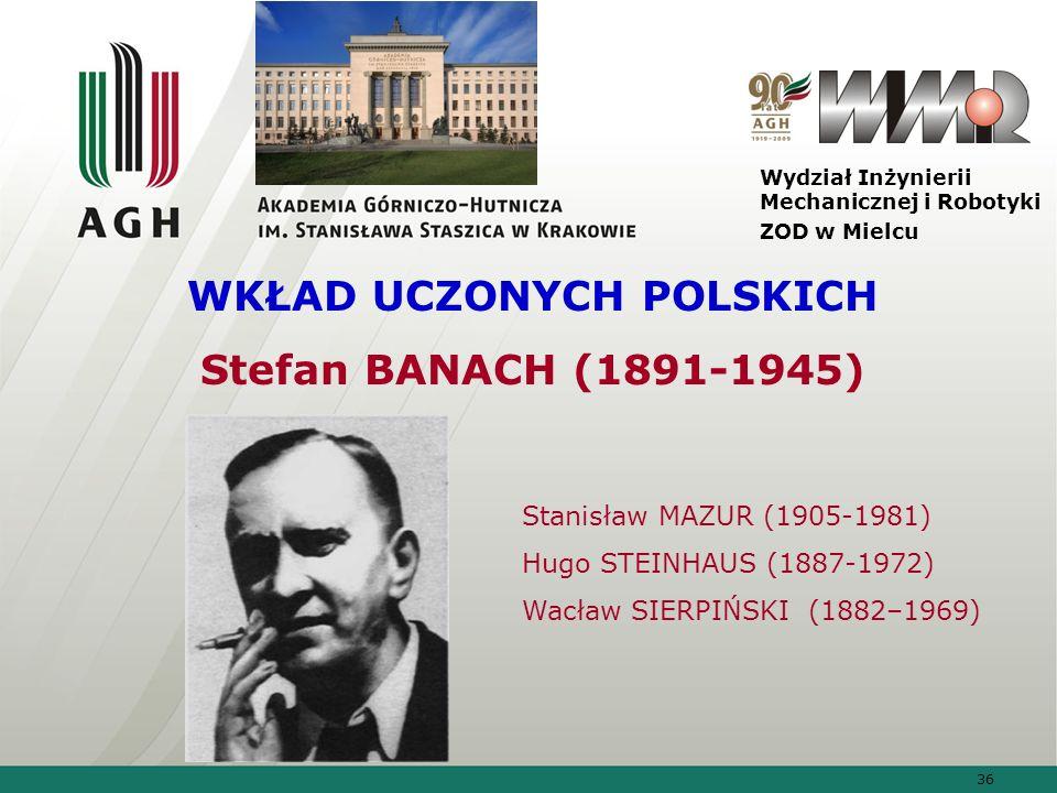 36 Wydział Inżynierii Mechanicznej i Robotyki ZOD w Mielcu WKŁAD UCZONYCH POLSKICH Stefan BANACH (1891-1945) Stanisław MAZUR (1905-1981) Hugo STEINHAU