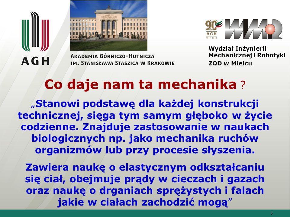 26 Wydział Inżynierii Mechanicznej i Robotyki ZOD w Mielcu