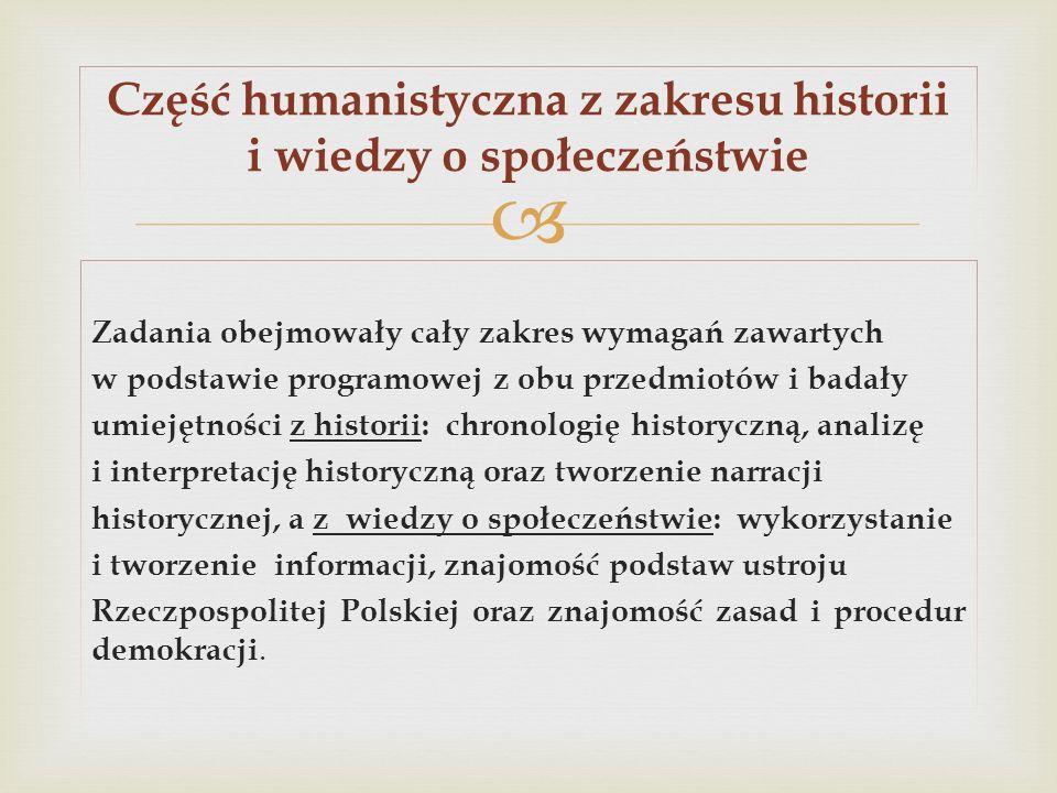 Zadania obejmowały cały zakres wymagań zawartych w podstawie programowej z obu przedmiotów i badały umiejętności z historii: chronologię historyczną,