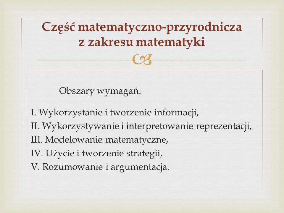 Obszary wymagań: I. Wykorzystanie i tworzenie informacji, II. Wykorzystywanie i interpretowanie reprezentacji, III. Modelowanie matematyczne, IV. Użyc