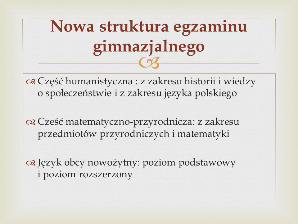 Część humanistyczna : z zakresu historii i wiedzy o społeczeństwie i z zakresu języka polskiego Cześć matematyczno-przyrodnicza: z zakresu przedmiotów