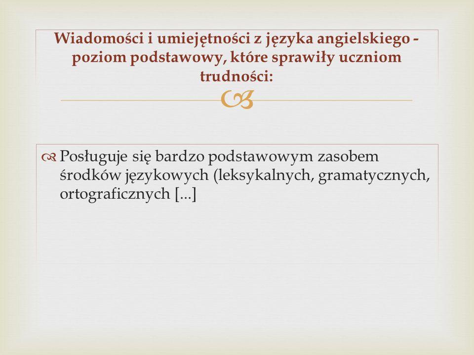 Posługuje się bardzo podstawowym zasobem środków językowych (leksykalnych, gramatycznych, ortograficznych [...] Wiadomości i umiejętności z języka ang