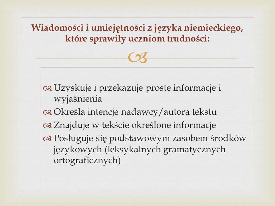 Uzyskuje i przekazuje proste informacje i wyjaśnienia Określa intencje nadawcy/autora tekstu Znajduje w tekście określone informacje Posługuje się pod