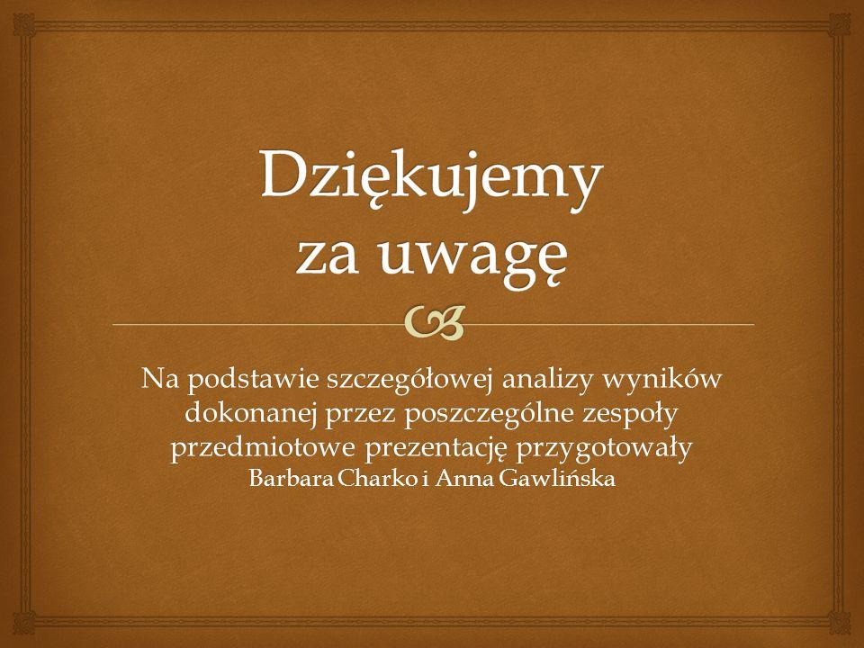 Na podstawie szczegółowej analizy wyników dokonanej przez poszczególne zespoły przedmiotowe prezentację przygotowały Barbara Charko i Anna Gawlińska