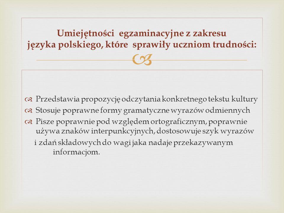 Przedstawia propozycję odczytania konkretnego tekstu kultury Stosuje poprawne formy gramatyczne wyrazów odmiennych Pisze poprawnie pod względem ortogr