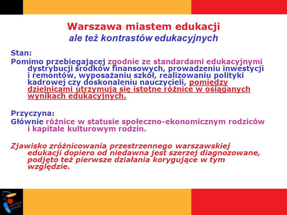Warszawa miastem edukacji ale też kontrastów edukacyjnych Stan: Pomimo przebiegającej zgodnie ze standardami edukacyjnymi dystrybucji środków finansow